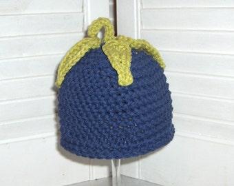 Little Eggplant Hat, 3-6 month size