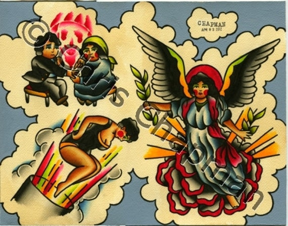 Angels n Fortune Tellers n Cannon Girls Tattoo Flash