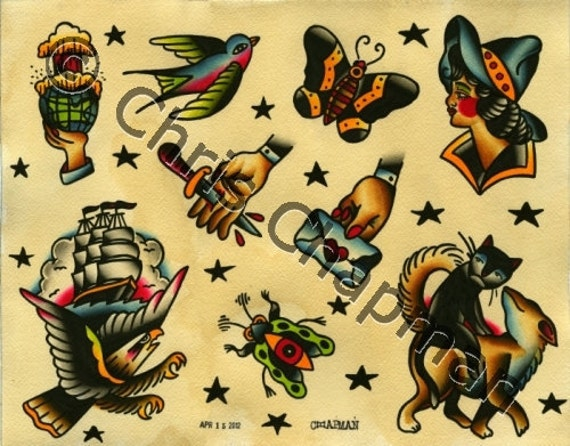 Eagles n Bugs n Cowgirls Tattoo Flash
