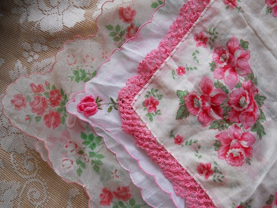 Set of 3 Vintage Rose Handkerchiefs: Lace, Embroidery, Sheer