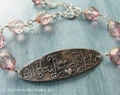 Romantic pink bracelet All you need is love sterling silver