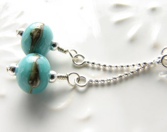 Turquoise dangle earrings sterling silver blue