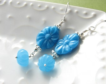 Turquoise blue dangle earrings sterling silver vintage beads flower floral