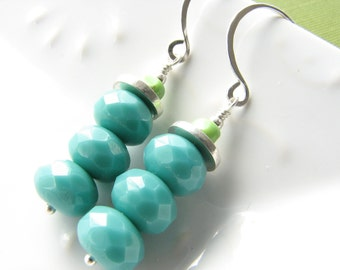 Turquoise dangle earrings lime green sterling silver aqua blue
