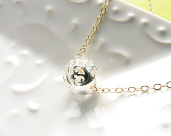 Sterling silver filigree globe round sphere ball bead necklace gold chain under 25 gift for women simple jewelry minimalist for layering