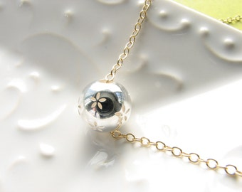 Sterling silver round globe bead necklace silver and gold necklace flower floral jewelry