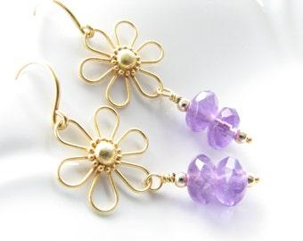 Purple amethyst gold gemstone dangle earrings daisy flower February birthstone