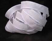 White Ribbon, Hand Dyed Silk Ribbons - Silk Wrist Wrap Bracelet - Fairy Ribbons - Quintessence - White Crinkle