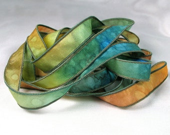 Hand Dyed Silk Ribbon  - Painted Silk Art Jewelry Bracelet Wrist Wrap - Quintessence - Sundance