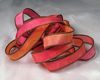 Hand Dyed Silk Ribbons Hand Painted Jewelry Bracelet Wrap - Hot Pink Mango