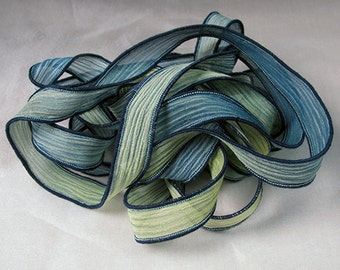 Hand Dyed Crinkle Silk Ribbons Jewelry Bracelet Fairy - Meadow