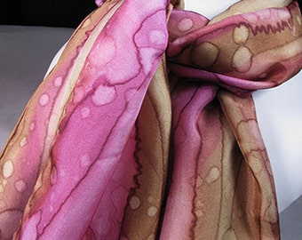 Scarf, Hand Painted Silk Scarf, Pink, Brown - Raspberry Expression