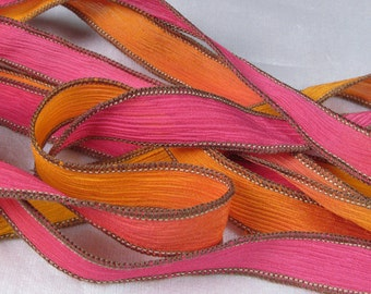 Hand Dyed Silk Ribbon - Crinkle Hand Painted Silk Jewelry Bracelet - Fairy Ribbons - Hot Pink Orange