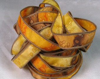Hand Dyed Silk Ribbons - Hand Painted Ribbon bracelet - Quintessence - Sunflower Sparkle