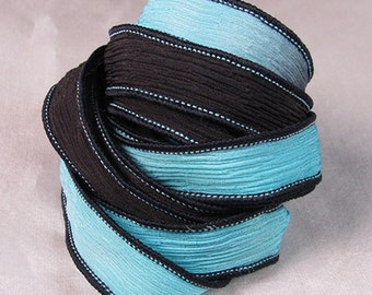 Hand Dyed Silk Ribbons - Crinkle Silk Jewelry Bracelet Fairy Ribbon - Quintessence  Black Ice