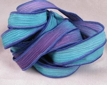Hand Dyed Silk Ribbons - Silk Crinkle Ribbon Bracelet - Fairy Ribbons - Quiintessence -  Purple Teal Crinkle