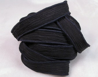 Hand Dyed Silk Ribbons - Crinkle Silk Jewelry Bracelet Fairy Ribbon - Quintessence - Black Crinkle