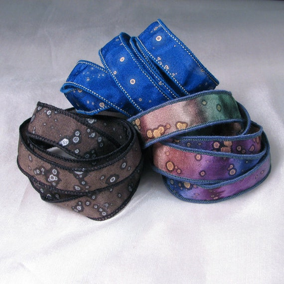 Hand Dyed Silk Ribbons Jewelry - Ribbon bracelet pendant Wrist wrap - Assorted Sparkle trio
