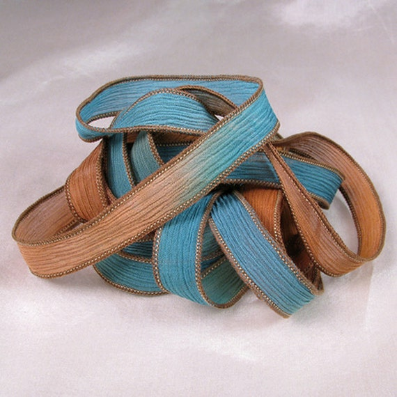Hand Dyed Silk Ribbons - Crinkle Hand Painted Silk Jewelry Bracelet - Fairy Ribbons  - Quintessence - Woodland Creek
