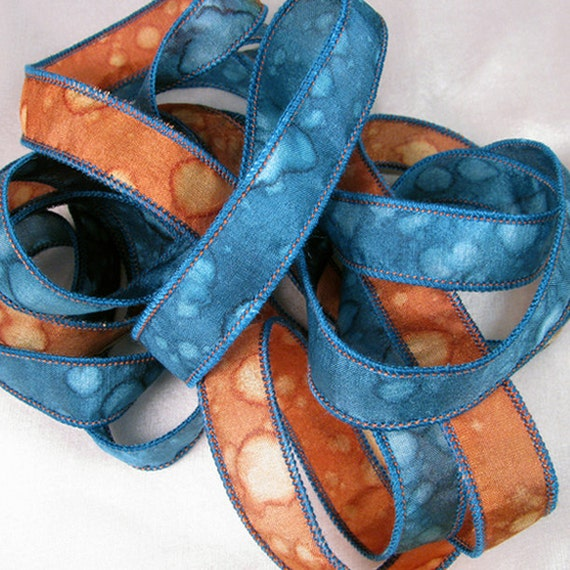 Hand Dyed Silk Ribbons - Hand Painted Jewelry Bracelet Wrap - Copper Blue Splash - Quintessence