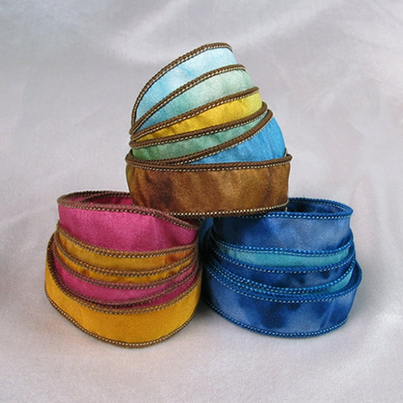 Hand Dyed Silk Ribbons - 3 Assortment Hot Pink Mango, Seaside Summer, Blue Lagoon - Jewelry Ribbons - Quintessence