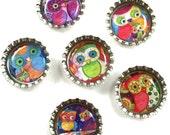 Owls- Bottle Cap Magnets- Party Favors- Collection 2- Lauren Alexander