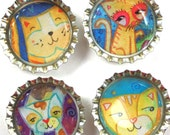 Kitty Cats- Bottle Cap Magnets