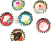 Cupcakes- Bottle Cap Magnets- Party Favors- Collection 1