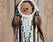 3 Inch White Deerhide Dreamcatcher-Emerald and Brass
