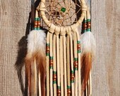3 Inch Golden Deerhide Dream Catcher-Emerald, Copper and Brass