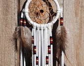 3 Inch Natural Deerhide Dreamcatcher-Black, Red and Brass