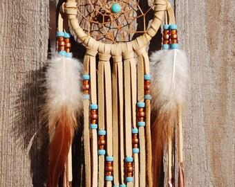 3 Inch Golden Deerhide Dreamcatcher-Turquoise and Copper