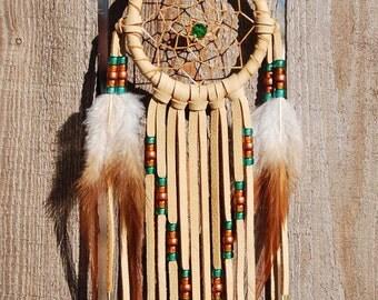 3 Inch Golden Deerhide Dream Catcher-Emerald, Copper and Brass