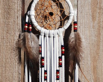 3 Inch Natural Deerhide Dreamcatcher-Black, Red and Brass