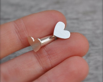 4 Gauge Silver Heart Plugs- made to order