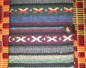 SALE! HiLLtRiBe JoUrNaL ~ LAST 1 REMAINING (tribal, art, bound, fabric, woven, hand made stripey, earth tones, Asian journal)