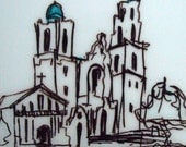 Mission Dolores 6 x 6 San Francisco Sketch Original Drawing: Only One Available, Architectural Drawing