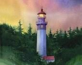 Gray's Harbor, Watercolor Print, Lighthouse, Washington Olympic Peninsula, Sunset