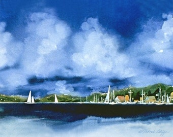 Paradise II, Watercolor Print, Sailboats, Tropical Harbor, Clouds, Blue Sky, Seascape, Ocean