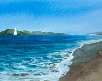 Beach Walk, Watercolor Print, Seascape, Sailboat, Sailing, Turquoise, Waves, Islands