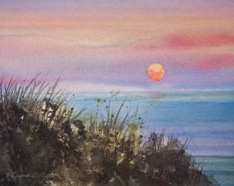 Llangennith Beach, Watercolor Print, Seascape, Wales, Sunset,  Blue, Sea, Sky