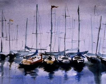 Harbor Fog, Watercolor Print, Harbor Fog, Sailboats, Misty, Calm, Blue, Purple