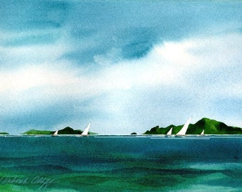Tropical Sails, Watercolor Print, Seascape, Islands, Sailboats, Blue, Green, Clouds