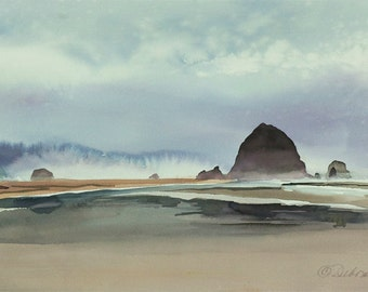 Haystack Rock, Watercolor Print, Seascape, Cannon Beach, Oregon Coast, Fog