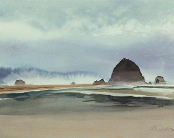 Haystack Rock, Watercolor Print, Seascape, Cannon Beach, Oregon Coast, Fog