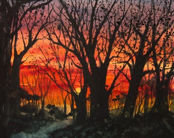 Home Before Dark, Watercolor Original Painting, Sunset Sky, Trees, Silhouette, Orange, Red