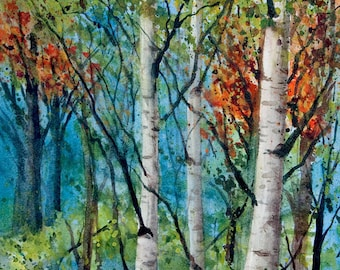 Three Birches, Watercolor Print, Woodland, Birch Trees, Forest, Fall Leaves, Autumn, Green