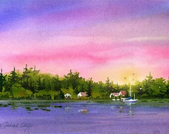 Karin's Dream, Watercolor Print, Sailboats, Colorful Sunset Sky, Island, Calm, Pink, Rose, Purple