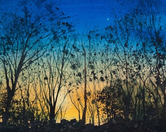 Tanglewood II, Watercolor Print, Sky, Sunset, Dramatic Sky, Silhouette, Trees, Venus, Dusk, Blue, Yellow, Gold