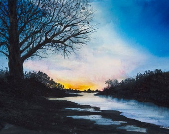 Winter Dawn, Watercolor Print, Winter Dawn, Thames, Strand-on-the-Green, Chiswick Sunrise, Blue, Silhouette Trees